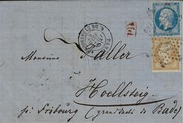 1867- Lettre De PARIS /  R. DE STRASBOURG Affr. N° 21 Et 22     Oblit. étoile 14 Pour Le Duché De Bade - Postmark Collection (Covers)