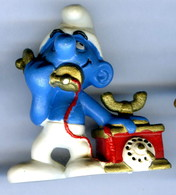 Figurine Vintage SCHTROUMPF Téléphone © 1980 PEYO SCHLEICH Germany CE - Smurfs