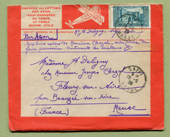"""MAROC  :  ENVELOPPE """" LATECOERE """" - Départ SAFI Pour FLEURY-SUR-AIRE  (1929) - Luftpost"""