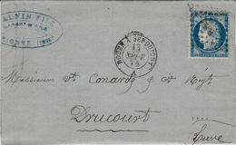 1875- Lettre De Brionne ( Eure )  Cad AMB. ROUEN A SERQUIGNY A  Affr. N°60 Oblit.  R S - Railway Post