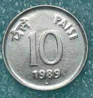 "India 10 Paise, 1989 Round Shape, Stainless Steel Mintmark ""♦"" - Bombay -1764 - Inde"
