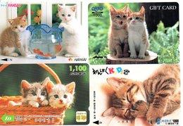 4 Cartes Prépayées Japon Japan Chat Cat  Katze Card (D 632) - Gatos