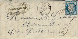 1875- Lettre De SAILLANS ( Drôme ) Cad T16 Affr. N°60 Oblit. G C 3262 + B M De AOUSTE - Marcophilie (Lettres)
