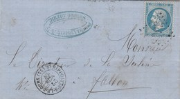 Yvert 22 Napoléon Lettre ST HIPPOLYTE Sur LE DOUBS 27/11/1867 GC 3663  à Fallon Haute Saône Bureau Passe 4169 Vesoul - Poststempel (Briefe)
