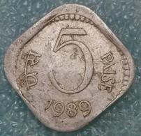 India 5 Paise, 1989 W/o Mintmark - Calcutta -2435 - Inde