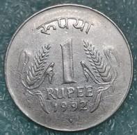 """India 1 Rupee, 1992 Mintmark """"♦"""" - Bombay -4477 - Inde"""