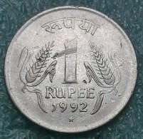 "India 1 Rupee, 1992 Mintmark ""*"" - Hyderabad -4213 - Inde"