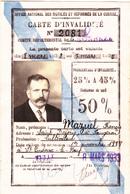 Carte D'invalidité 1933 - Vieux Papiers