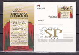 Bilhete Postal 250 Anos De Imprensa Literária IP Presse Littéraire Inteiro Prensa Literaria Literary Press Literarische - Historia