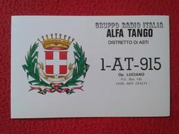 POSTAL POST CARD QSL RADIOAFICIONADOS RADIO AMATEUR GRUPPO ALFA TANGO ITALIA DISTRETTO DI ASTI PIAMONTE PIEMONTE ITALY - Cartes QSL