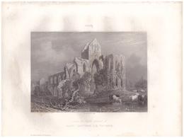 1851 - Gravure Sur Acier - Saint-Sauveur-le-Vicomte (Manche) - Les Ruines De L'église - FRANCO DE PORT - Estampes & Gravures