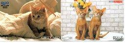2 Cartes Prépayées Japon Japan Chat Cat  Katze Card (D 635) - Gatos