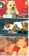 3 Télécartes Japon Japan Nounours Peluches Chien Dog Ours Phonecard (D 638) - Jeux