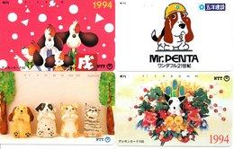 4 Télécartes Japon Japan Chien Dog BD  Phonecard (D 639) - BD