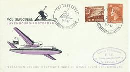 LUXEMBURGO, SOBRE VUELO INAGURAL LUXEMBURGO/AMSTERDAM AÑO 1962 - Luxembourg