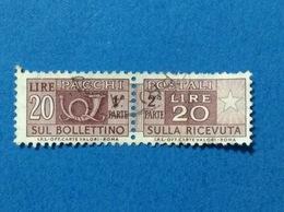 1973 ITALIA PACCHI POSTALI FIL STELLE 20 LIRE IPS OFF CARTE VALORI FRANCOBOLLO USATO STAMP USED - Pacchi Postali