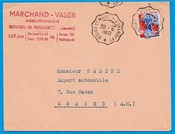 1960 Lettre à En-tête Marchand-Vaser Assurances 73 Cachet Ambulant BOURG-ST-MAURICE à CHAMBERY - Railway Post