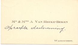 Visitekaartje - Carte Visite - Mr & Mme A. Van Hecke - Beken - Waarschoot - Cartes De Visite