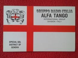 POSTAL POST CARD QSL RADIOAFICIONADOS RADIO AMATEUR GRUPPO ALFA TANGO ITALIA DISTRETTO DI GENOVA GENOA ITALY ESCUDO FLAG - Cartes QSL