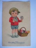 Gelukkig Nieuwjaar Jongen Mand Bloemen Enfant Corbeille Fleurs Gelopen Circulée 1928 Amag O. 170 - Nouvel An