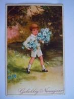 Gelukkig Nieuwjaar Jongen Met Bloemen Garçon Avec Bouquet De Fleurs Gelopen Circulée 1938 HWB Ser 5593 - Nouvel An