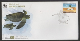 INDIA  2012  WWF  Turtles  Olive Ridley Sea Turtle Special Cover #  19116   Indien Inde - Turtles