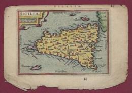 200619A - CARTE GEOGRAPHIQUE Colorisée Vers 1601 XVIIe - ITALIE SICILIA - Geographische Kaarten