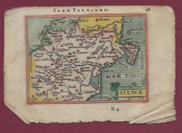 200619A - CARTE GEOGRAPHIQUE Colorisée Vers 1601 XVIIe - ITALIE Sena Territor Territoire De Sena Siena Sienne Toscane - Mapas Geográficas
