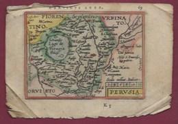 200619A - CARTE GEOGRAPHIQUE Colorisée Vers 1601 XVIIe - ITALIE Parvinus Ager Perusia Champ De Perugia - Carte Geographique