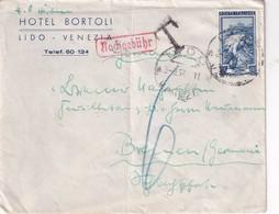 ITALIE 1951 LETTRE TAXEE DE LIDO VENEZIA (HOTEL BORTOLI) POUR BREMEN - 6. 1946-.. Repubblica