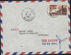 YT 328 Brouage 10 CFA S/ 20 F (YT France 1042) CAD St Denis Réunion 3 11 57 Ex A Tiverné Agent Fabrique St Denis Avion - La Isla De La Reunion (1852-1975)