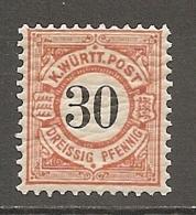WURTEM - Yv. N° 53 MI. N° 61   *  30p  Rouge-orange  Cote  4 Euro TBE   2 Scans - Wuerttemberg