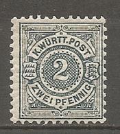 WURTEM - Yv. N° 57 MI. N° 60  *  2p Ardoise  Cote  2,5 Euro TBE   2 Scans - Wuerttemberg