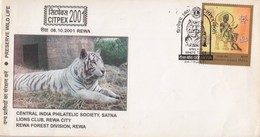 INDIA  2001 Felines  White Tiger Rewa Forest Division  Preserve Wild Life Special Cover #  00963   Indien Inde - Big Cats (cats Of Prey)