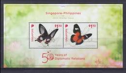 Singapore 2019 Joint Issue Philippines Philippinen Pilipinas SS, Butterflies - MNH** (see Photo) - Filippine