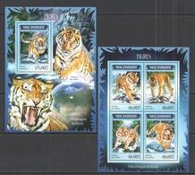 ST2401 2014 MOZAMBIQUE MOCAMBIQUE FAUNA ANIMALS WILD CATS TIGERS TIGRES KB+BL MNH - Big Cats (cats Of Prey)