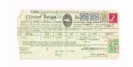 """Quittance D'incendie.Expédié à Mohiville.. Oblitération """"Ciney"""". Timbre Fiscal. - Belgique"""