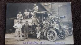 CPA PHOTO BEAUVAIS 20 SEPTEMBRE 1916 GROUPE DE SOLDATS MILITAIRES SUR VEHICULE AUTOMOBILE GROS PLAN PHOTO GUILLEMINOT - Guerre 1914-18