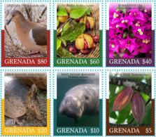 Grenada  2018  Fauna And Flora  ,bird ,manatee,nutmeg .flower . High Face Value   I201901 - Grenada (1974-...)