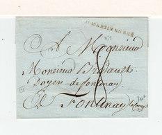 Sur Partie De Lettre Pour Le Doyen De Fontenay Le Comte Marque Linéaire St Martin En Rhé. Taxe Manuscrite 8. (2400x) - Postmark Collection (Covers)