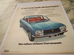 ANCIENNE PUBLICITE UNE SERIEUSE  VOITURE 304  PEUGEOT  1975 - Voitures