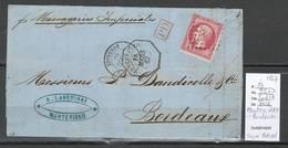 France -Lettre De MONTEVIDEO - 1867 - Ancre + Octogonal - Yvert 24 - SIGNE BRUN - Marcophilie (Lettres)