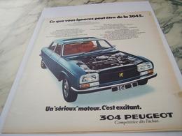 ANCIENNE PUBLICITE UN SERIEUX MOTEUR VOITURE 304  PEUGEOT  1975 - Voitures