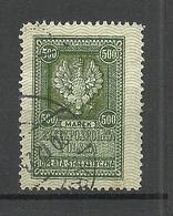 POLEN Poland O 1923 Revenue Tax Oplata Gebührenmarke 500 Marek O - Fiscaux