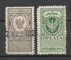 POLEN Poland Ca 1920 Documentary Tax Oplata Stempelmarken 20000 & 100000 Marek O - Fiscaux