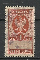 POLEN Poland Ca 1920 Documentary Tax Oplata Stempelmarke 1 Zl. O - Fiscaux