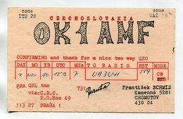QSL RADIO AMATEUR CARD 1986 OK1AMF CZECHOSLOVAKIA D35 - Radio Amateur