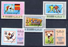 RAS AL KHAIMA 1970, PHILYMPIA 1970, FOOTBALL, Timbres Sur Timbres, 5 Valeurs, Neufs / Mint. R241 - World Cup