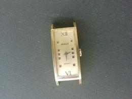 Montre De Poignet Ancienne Kiplé Antichoc, Modèle Doré Rectangulaire Mécanique - Watches: Old