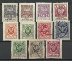 POLEN Poland Ca 1920 Documentary Tax Oplata Stempelmarken O - Fiscaux